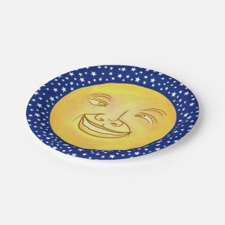 Funny Moon Man Outer Space Vintage 7 Inch Paper Plate