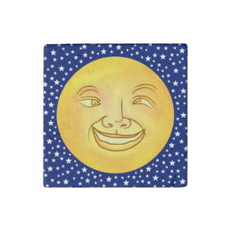 Funny Moon Man Outer Space Vintage Stone Magnet