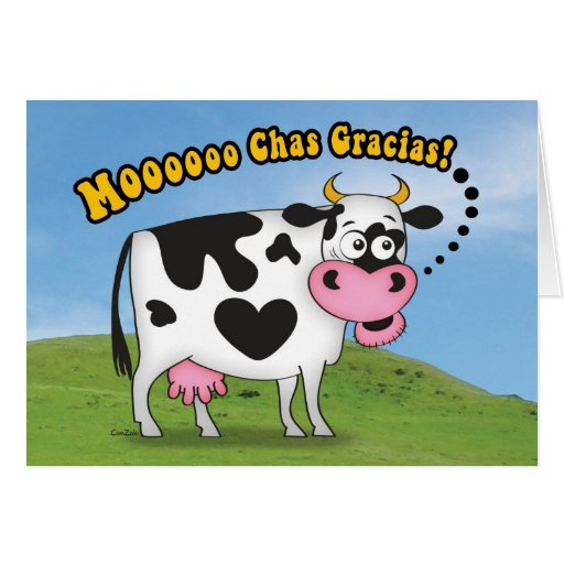 Funny MooooChas Gracias Cow Thank You Card | Zazzle