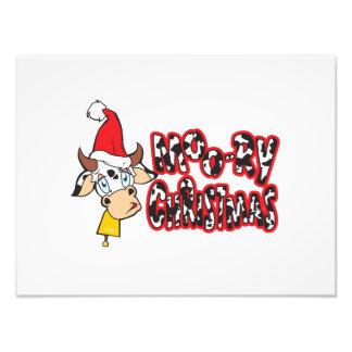 Funny Moory Christmas Cow Moo-ry Invitation Cards Photo