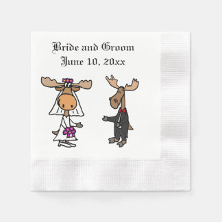 Funny Moose Bride and Groom Paper Napkins