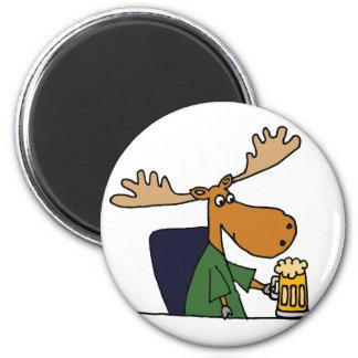 Funny Moose Drinking Beer Cartoon 6 Cm Round Magnet