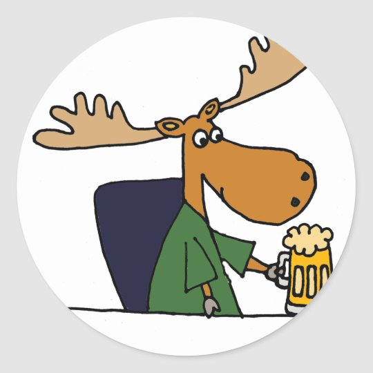 Funny Moose Drinking Beer Cartoon Classic Round Sticker