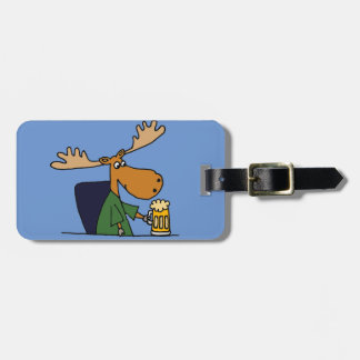 Funny Moose Drinking Beer Cartoon Luggage Tag
