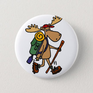 Funny Moose Hiker 6 Cm Round Badge