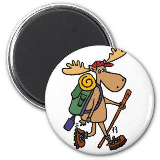 Funny Moose Hiker 6 Cm Round Magnet