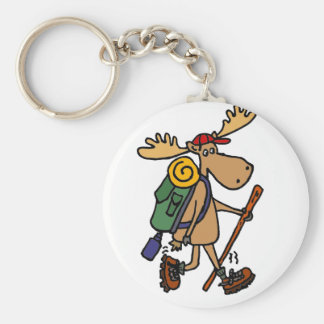 Funny Moose Hiker Key Ring