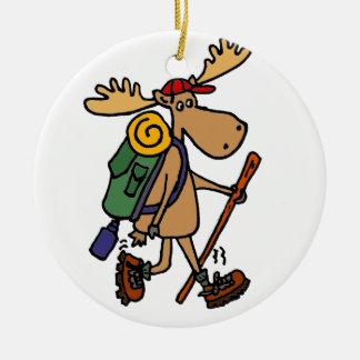 Funny Moose Hiker Round Ceramic Decoration