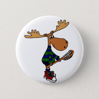 Funny Moose Holding Lacrosse Stick 6 Cm Round Badge