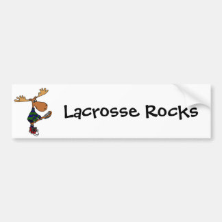 Funny Moose Holding Lacrosse Stick Bumper Sticker