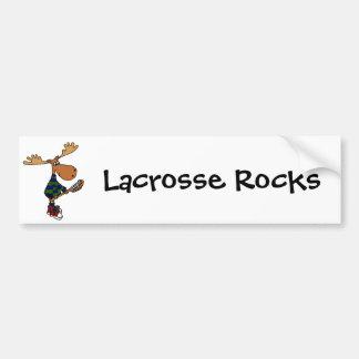 Funny Moose Holding Lacrosse Stick Bumper Sticker
