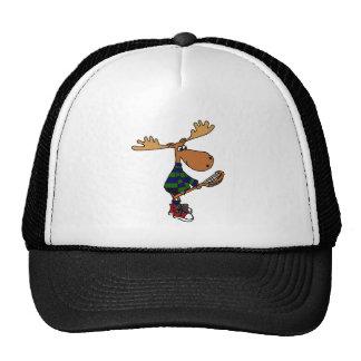 Funny Moose Holding Lacrosse Stick Cap
