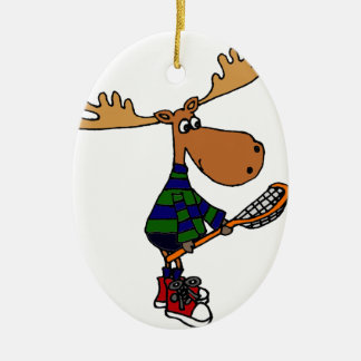 Funny Moose Holding Lacrosse Stick Christmas Ornament