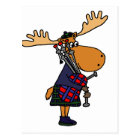 Funny Moose Playing Bagpipes Art Postcard