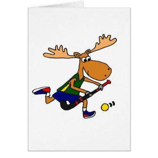 Funny Moose Playing Field Hockey Greeting Card