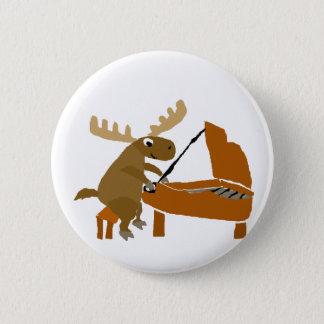 Funny Moose Playing Piano Original Art 6 Cm Round Badge