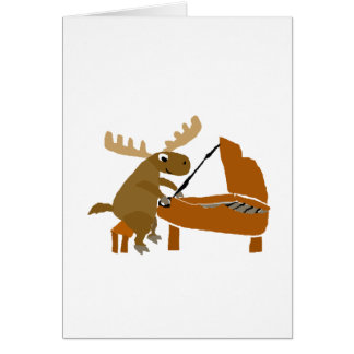 Funny Moose Playing Piano Original Art Greeting Card