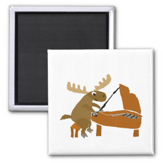 Funny Moose Playing the Piano Magnet