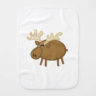 Funny Moose / Reindeer on White Burp Cloth