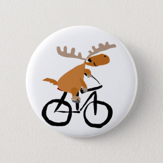 Funny Moose Riding Bicycle original art 6 Cm Round Badge