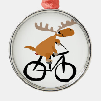 Funny Moose Riding Bicycle original art Christmas Ornament