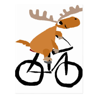Funny Moose Riding Bicycle original art Postcard