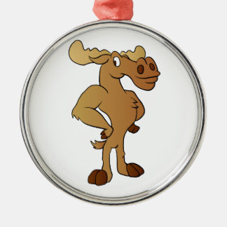 Funny moose Silver-Colored round decoration