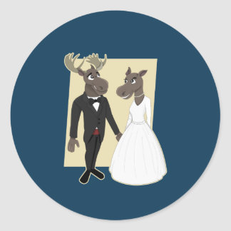 Funny Moose Wedding Cartoon Classic Round Sticker