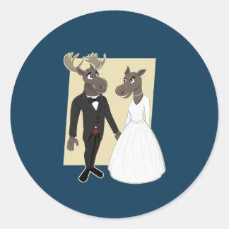 Funny Moose Wedding Cartoon Round Sticker
