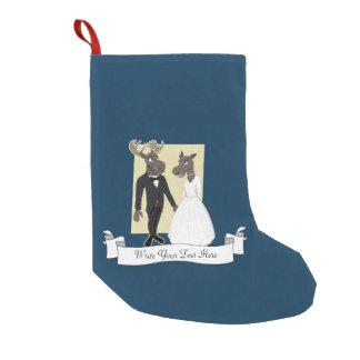 Funny Moose Wedding Cartoon Small Christmas Stocking