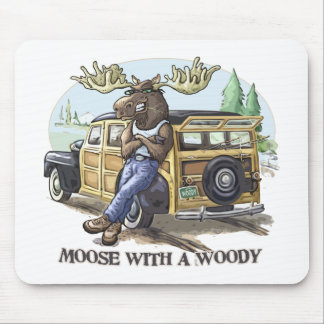 Funny Moose with a Woody by Mudge Studios Mouse Mat