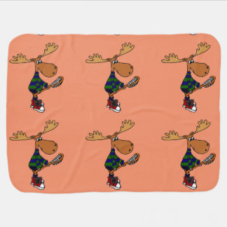 Funny Moose with Lacrosse Stick Art Baby Blanket