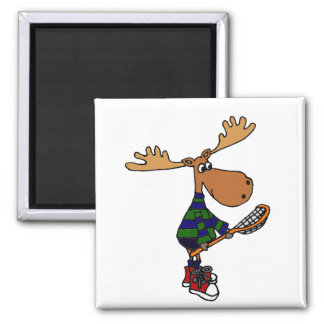 Funny Moose with Lacrosse Stick Art Magnet
