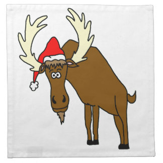 Funny Moose With Santa Hat Napkin