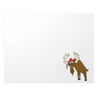 Funny Moose With Santa Hat Notepad