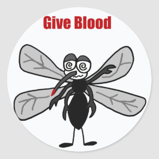Funny Mosquito Saying Give Blood Design Round Sticker