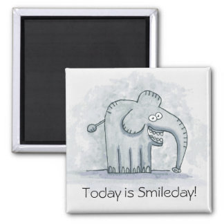Funny motivational elephant Today is Smileday Square Magnet