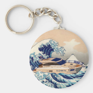 Funny Motor Yacht Boat On The Hokusai Great Wave Basic Round Button Key Ring