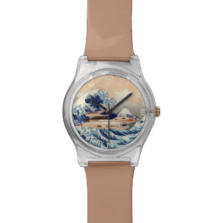 Funny Motor Yacht Boat On The Hokusai Great Wave Watch