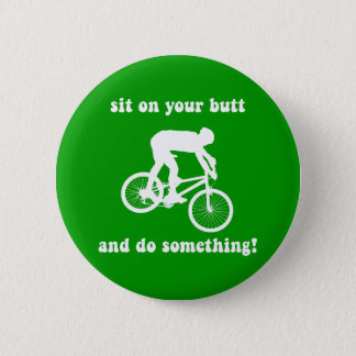 Funny mountain biking 6 cm round badge