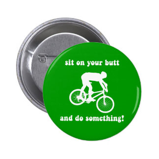 Funny mountain biking pinback button