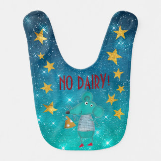 Funny Mouse Diary Allergy Stars Stripes Gold Baby Bib