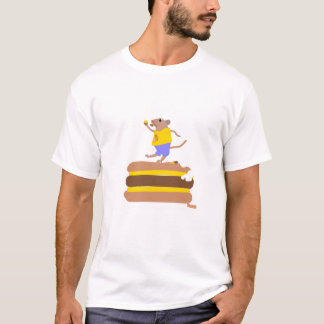 Funny Mouse Eating a Quarter ponder with cheese. T-Shirt