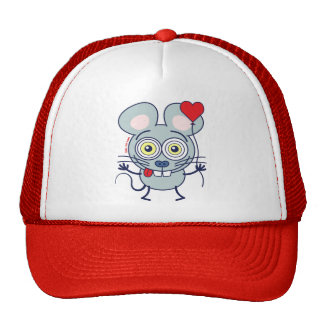 Funny mouse holding a balloon and feeling in love hat