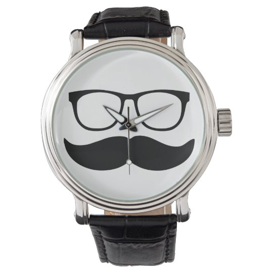 Funny Moustache and Glasses Face Watches