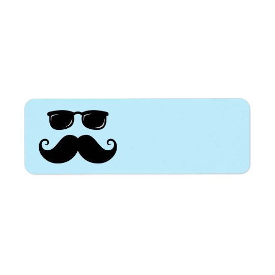 Funny moustache and sunglasses face on blue return address label