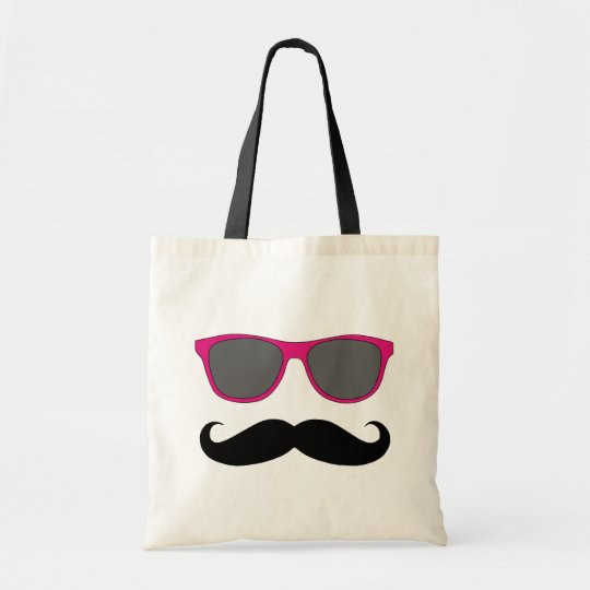 Funny Moustache and Sunglasses Humour Tote Bag
