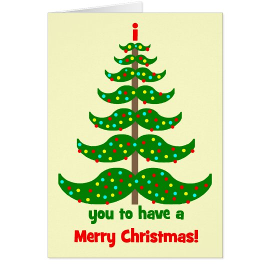 funny moustache Christmas Card