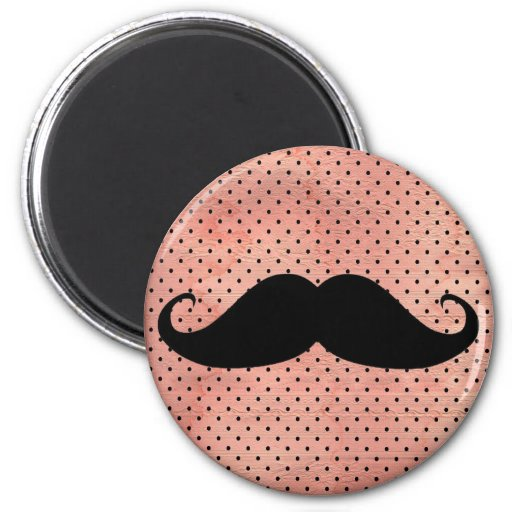 Funny Moustache On Cute Pink Polka Dot Background 6 Cm Round Magnet