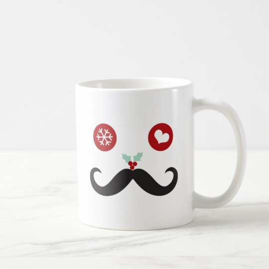 Funny Moustache Smiley Face Christmas Holiday Mug